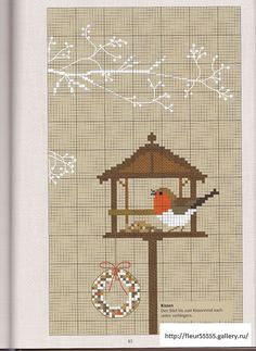 Winter/Christmas bird feeder cross stitch - free  Love the branch above feeder