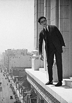 Harold Lloyd silent film star.  Dangerous stunts to say the least...