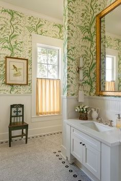 Warm Mirror With Nickle Fixtures/wall Paper/wainscoting Bathroom Details
