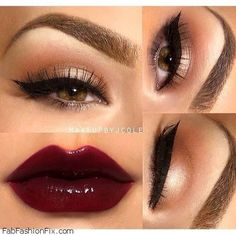 Dark red lips and cat eyes makeup look