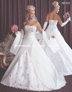07 wedding dress, White / ivory embroidery satin  gown! W-209