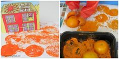 Orange activities for preschoolers - reading the story The Big Orange Splot, followed by making splot prints with a cut up orange.