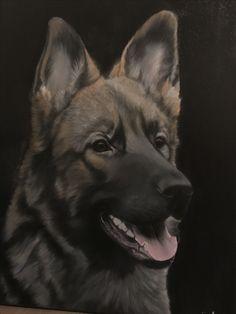 German shepherd oil painting