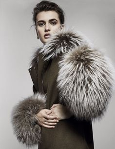 Adeam's wool and cashmere parka with Chinese raccoon fur. Ming Yu Wang earring (worn throughout). Fur Clothing, Parka, Creepy, Attitude, Cashmere, Fur Coat, Winter Hats, Chinese, Wool