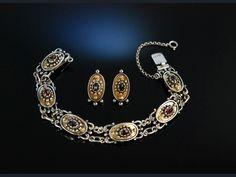 Trachten Armband und Ohrstecker Silber vergoldet Granate Tegernsee um 1950, bayerischer Schmuck zu Tracht und Dirndl, traditioneller Trachtenschmuck bei Die Halsbandaffaire