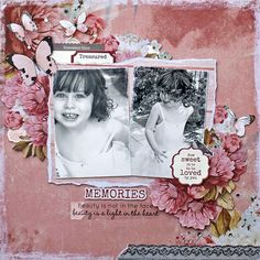 """Ma Cherie"" paper collection is such a pretty shabby chic collection of papers, lots of butterflies and flowers to beautify your pages. Have a look at the these Rustic and Shabby chic layouts our D. Friend Scrapbook, Kids Scrapbook, Scrapbook Albums, Shabby Chic Cards, Rustic Shabby Chic, Mixed Media Scrapbooking, Scrapbooking Layouts, Arts And Crafts Projects, Crafty Projects"