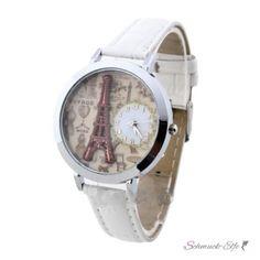 Damen Armbanduhr VINTAGE PARIS   PU Leder weiß