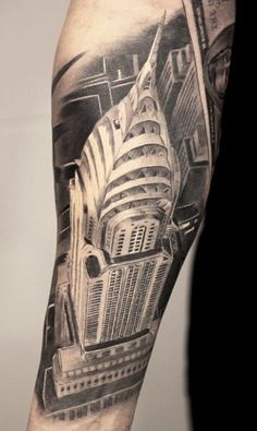 The Chrysler building in New York City—tattooed by Miguel Bohigues