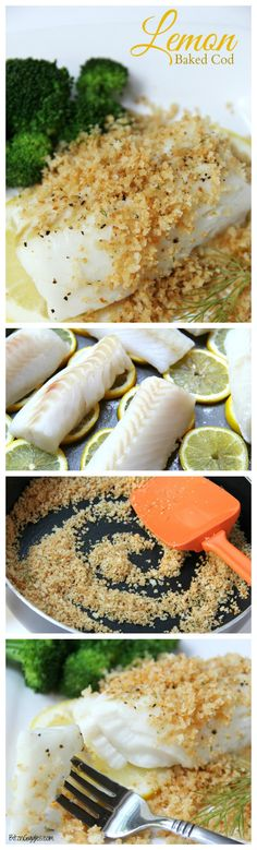 Lemon Baked Cod - Flaky white cod baked on top of lemon slices and then topped off with panko