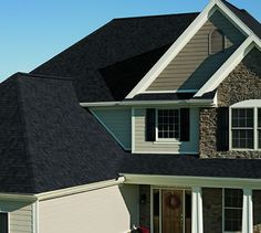 Dark Roof Tan Siding Certainteed Landmark Charcoal Black Shingle House Exterior Pinterest