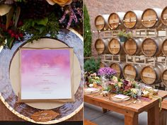 the first ruffled wedding i want almost all of. especially the invites. i love the colors, the vineyard/wine barrels theme, string lights, candles... not the dress, flowers.