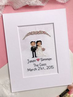 THIS LISTING IS FOR A TWO FIGURE WEDDING PORTRAIT: •Includes optional floral detail at top that matches your personal wedding color palette. •Add pets, children or additional people to this portrait here: https://www.etsy.com/listing/259696558/add-extra-figure-custom-family-portrait