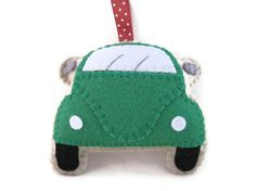 VW Beetle Plush Dark Green Hanging Ornament Gift by GracesFavours, £9.00