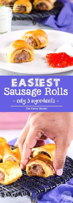 Easy Sausage Rolls with just 3 ingredients -You can customize these sausage rolls easily with your favorite flavor pairings, and they can be made ahead of time and frozen for later too. Easy pork sausage rolls that are perfect for holiday entertaining, as an appetizer or as a brunch or lunch snack! #Sausagerolls #Partyfood #SnacksRecipe #FreezerFriendly