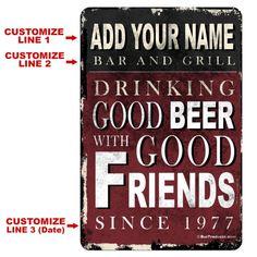 Bar and Grill ~ x Custom Metal Bar Sign Home Bar Signs, Diy Home Bar, Home Bar Decor, Bars For Home, Custom Bar Signs, Outside Patio, Garage Signs, Beer Signs, Wall Bar