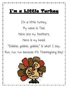 Albanese's Kindergarten Class: Happy Thanksgiving! Albanese's Kindergarten Class: Happy Thanksgiving! Not sure if it was made to do this, but you can sing this to the tune of I'm a Little Teapot, so cute. Kindergarten Songs, Preschool Music, Fall Preschool, Preschool Activities, November Preschool Themes, Thanksgiving Poems, Thanksgiving Activities, Kindergarten Thanksgiving, Thanksgiving Songs For Preschoolers