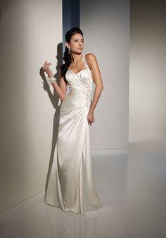 fashion beaded one shoulder Satin Column Wedding Dress picture 1