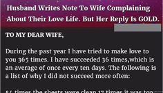 A husband wrote an open letter to his own wife. This is a must read..priceless!