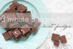 3 Minute, 3 Ingredient Mint Fudge (1) 14 oz can condensed milk (1) 14 oz package of semi sweet chocolate chips. (1) 10 oz package of Andes mint chips,  microwave 3 mins, stir, pour in to 8 in pan. Top with crushed candy canes