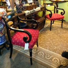 Pair of Black and Gold Wood Regency Style Arm Chairs  Dealer #0108  Red fabric Seats   $428  Lucas Street Antiques Mall 2023 Lucas Dr.  Dallas, TX 75219  Located close to Dallas' Design Di
