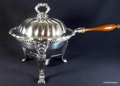 Vintage POOLE Silver Plate OLD ENGLISH Ornate Chafing Dish Service w Burner - I bought this same one today!  5/14/2014