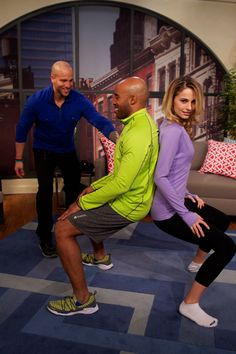 bab4c781af19f4 Jeff s 3 couples fitness routines demonstrated by Tiki Barber and his wife.