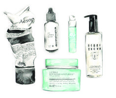 Beauty watercolor illustration skincare
