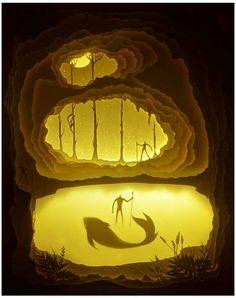 Stunning combination between paper cut art and light