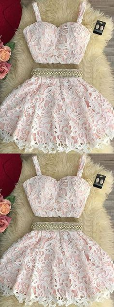 Adorable Homecoming Dress,Two Piece Homecoming Dresses,A-line Homecoming Dress,Lace Homecoming Dress,Short Party Dresses,Short Homecoming Dress,Homecoming Dress