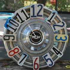 Clock Chevy License Plate Hubcap Clock Garage Clock by dables