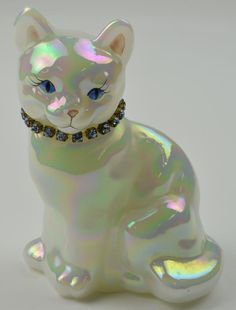 featon glassware | Fenton Art Glass - March Cat Figurine - Iridized (Carnival) Glass - T ...