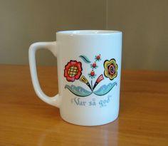 Vintage Berggren Swedish Coffee Cup | Sweden Folk Art Kitchen Decor | Scandinavian Coffee Mug | Swedish Mid Century Kitchen Coffee Cup by SimplyAgain on Etsy