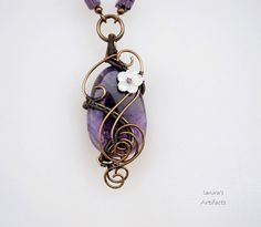 Amethyst wire wrapped necklace  OOAK by Ianira on Etsy