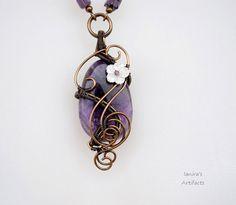 Amethyst wire wrapped necklace  OOAK van Ianira op Etsy