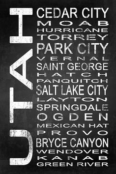 Utah Subway Sign Typography Wall Art by Melissa Smith – Urban Art District. | Embrace your love for Utah and add some urban sophistication to compliment your modern style with a canvas or framed subway sign.  It beautifully displays some of the best cities and towns in the state, and its chalkboard design suits any wall color—easily enhancing your living space.  SHARE if you ♥ it!
