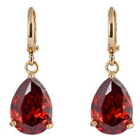 Brass Leverback Earring, Teardrop, 18K gold plated, with cubic zirconia, nickel, lead & cadmium free, 28x10mm, Sold By Pair