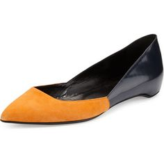 Pierre Hardy Suede/Leather Point-Toe Ballerina Flat