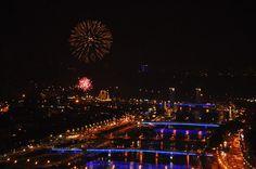 Rouen vue des ponts la nuit