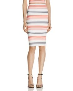 Aqua Textured Stripe Pencil Skirt - 100% Exclusive