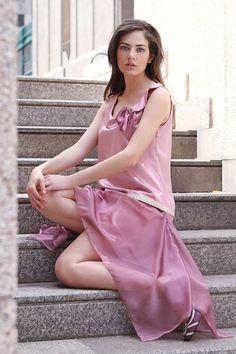 Pink Bridesmaid Dress 20s Style, Mauve Wedding Dress, Flapper Dress Satin and Chiffon, Drop Waist Dress Asymmetrical Collar, Made to Order