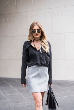 Spring fashion - ENA PELLY SUEDE MINI SKIRT IN GREY This classic suede mini skirt is made from the softest suede. Lined with satin. Designed in Australia. #springsummer2017 #springstyle #springfashion