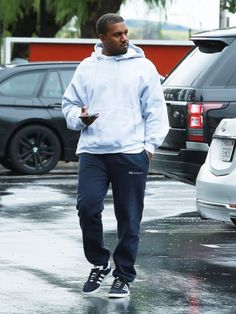 Kanye West Steps Out In Gosha Rubchinskiy Sweatpants And Adidas Gazelle Sneakers