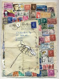 love this-inspiration to do something with all those old stamps & envelopes in  the attic!!