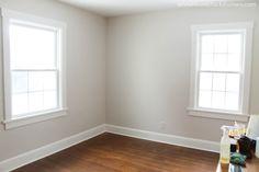 "This room is perfect. Martha Stewart Paint - ""Whetstone Gray"".  Trim is Valspar Bistro White"