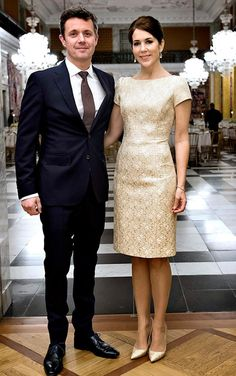 Crown Prince Frederik and Crown Princess Mary of Denmark 2015. Such an elegant semi-formal look--and she looks stunning.