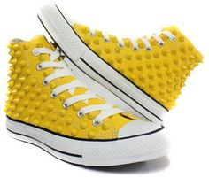 Studded Converse yellow stud converse high with custom design yellows sneakers CUSTOMDUO on ETSY