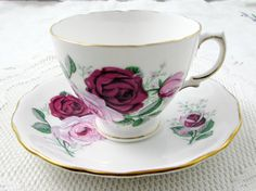 Vintage Tea Cup and Saucer by Royal Vale with Pink and Red Roses, English Bone China