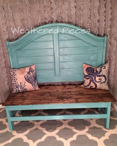 Cottage Bench from a headboard Seaglass with Mermaid Tail washed over Furniture Projects, Furniture Makeover, Home Projects, Diy Furniture, Handmade Furniture, Furniture Design, Repurposed Furniture, Painted Furniture, Homemade Bench