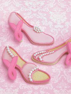 Pink Ribbon Sugar Cookie Shoes