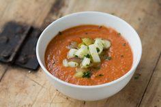 Recipe for yummy roasted tomato gazpacho!